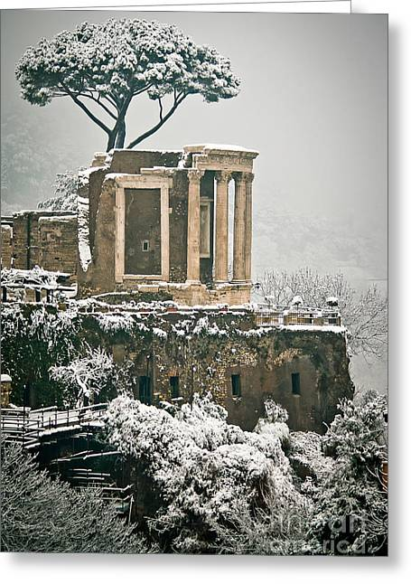 Nebbia Greeting Cards - The Temple Of Vesta  Greeting Card by Rossana Coviello