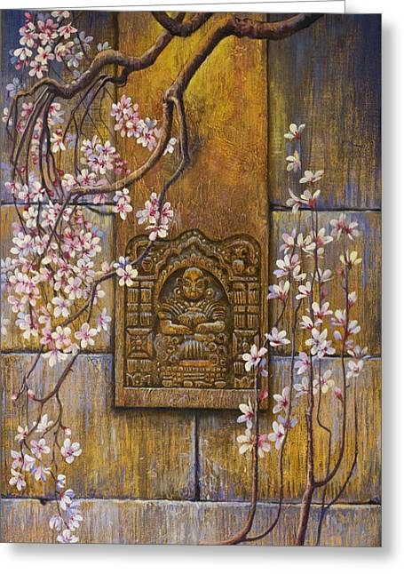 The Temple's Wall Greeting Card by Vrindavan Das