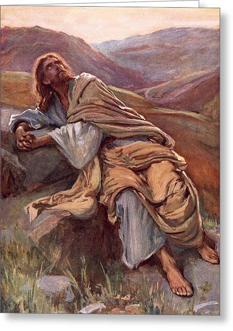 Bible Greeting Cards - The Temptation of Christ Greeting Card by Harold Copping