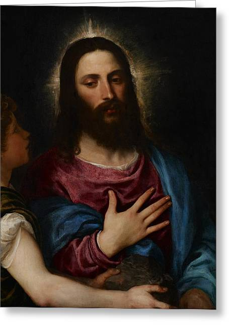 Christian Paintings Greeting Cards - The Temptation of Christ Greeting Card by Titian