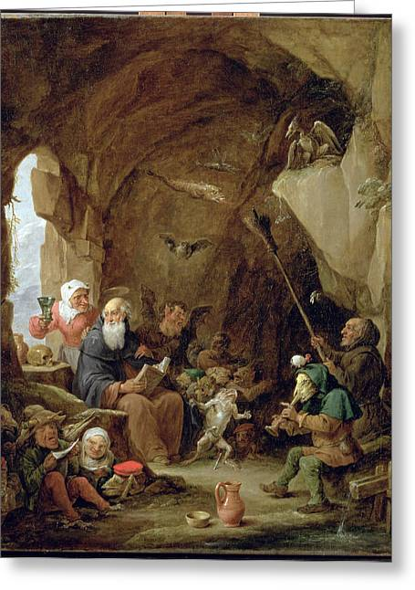 Goblins Greeting Cards - The Temptation Of St. Anthony In A Rocky Cavern Oil On Canvas Greeting Card by David the Younger Teniers