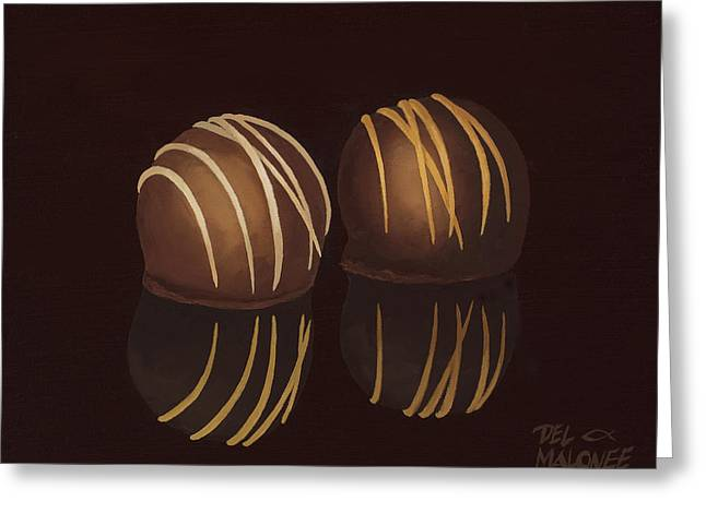 Truffles Greeting Cards - The Temptations Greeting Card by Del Malonee