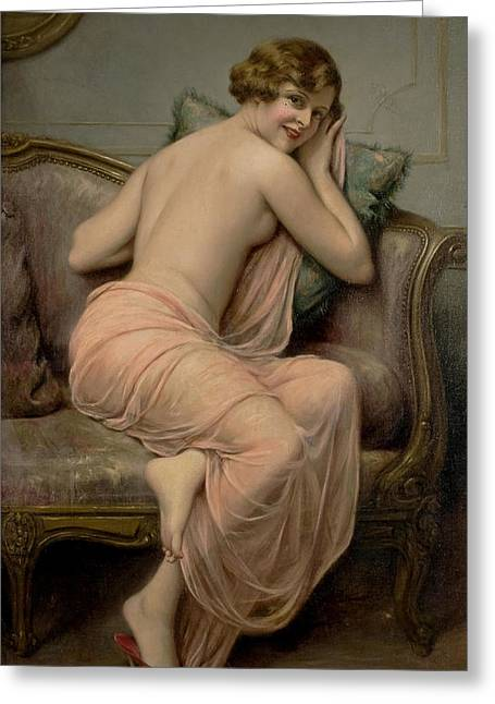 Cushion Greeting Cards - The Temptress Greeting Card by Francois Martin Kavel