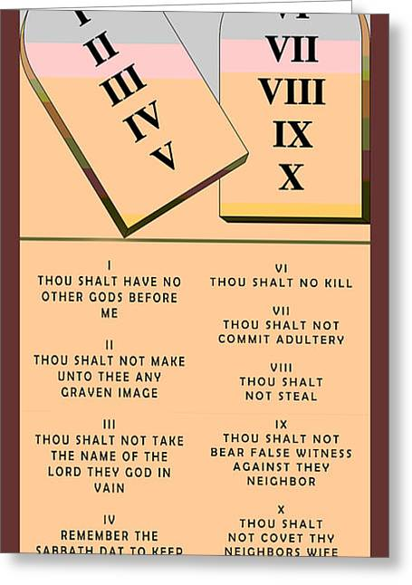 Saint Barbara Greeting Cards - The Ten Commandments Greeting Card by Barbara Snyder
