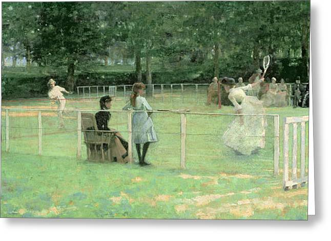 Racquet Paintings Greeting Cards - The Tennis Party Greeting Card by Sir John Lavery