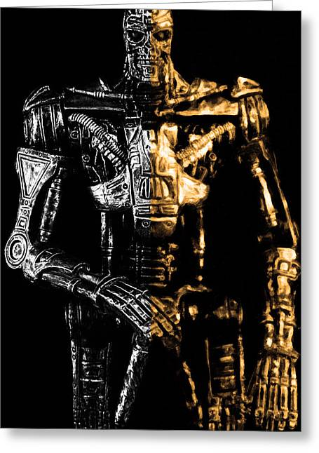 Chrome Mixed Media Greeting Cards - The Terminator silver and gold Greeting Card by Toppart Sweden