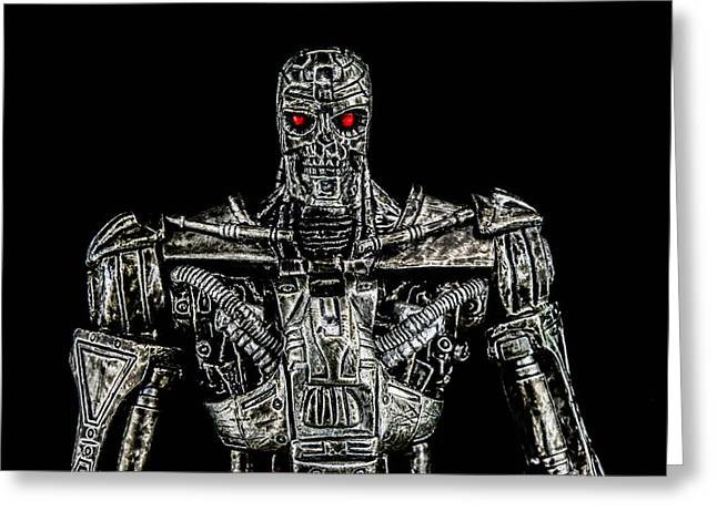 Chrome Mixed Media Greeting Cards - The terminator  Greeting Card by Toppart Sweden