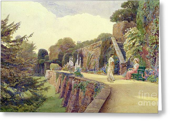 Park Benches Paintings Greeting Cards - The Terrace at Berkeley Castle Greeting Card by George Samuel Elgood