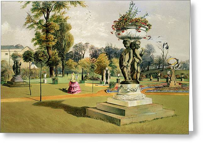 Border Greeting Cards - The Terrace Garden Woburn Abbey  Greeting Card by E Adveno Brooke