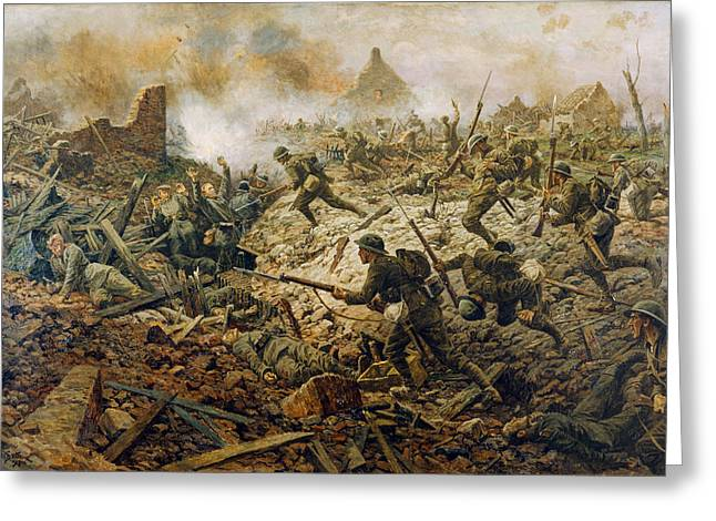 Wwi Paintings Greeting Cards - The Territorials At Pozieres On 23rd Greeting Card by William Barnes Wollen