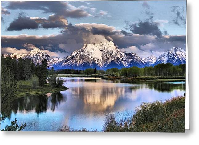 Snow Capped Greeting Cards - The Tetons From Oxbow Bend Greeting Card by Dan Sproul