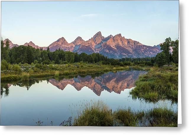 Blue Green Water Greeting Cards - The Tetons Reflected On Schwabachers Landing - Grand Teton National Park Wyoming Greeting Card by Brian Harig
