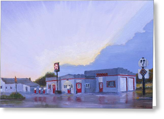 American Automobiles Paintings Greeting Cards - The Texaco in Potter Greeting Card by Jerry McElroy