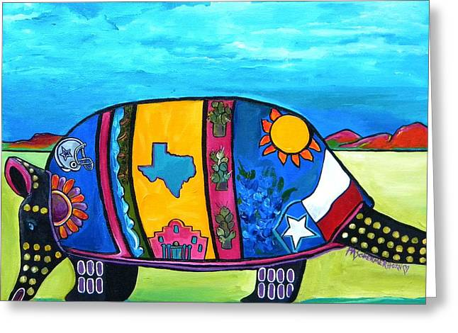 Dallas Paintings Greeting Cards - The Texas Armadillo Greeting Card by Patti Schermerhorn