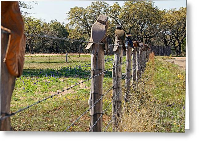Flowers On A Fence Greeting Cards - The Texas Way Greeting Card by Erika Weber