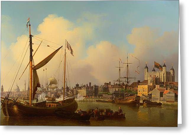 Tall Ships On Water Greeting Cards - The Thames and Tower of London on the Kings Birthday Greeting Card by Samuel Scott