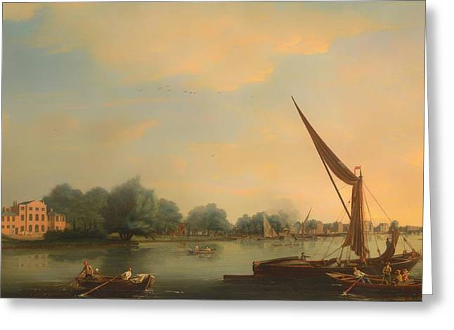 Chelsea Greeting Cards - The Thames at Chelsea Greeting Card by Thomas Whitcombe