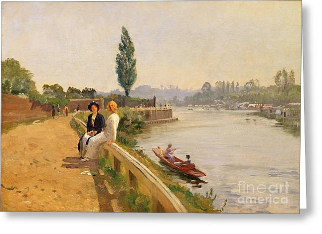 Natural River Greeting Cards - The Thames at Hampton Court Greeting Card by John Arthur Black