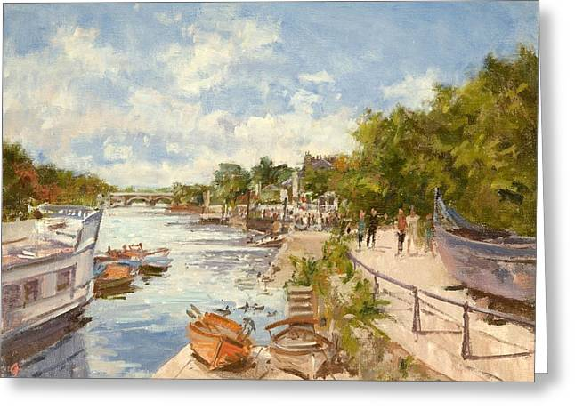 Thames River Greeting Cards - The Thames At Richmond, 2012 Oil On Canvas Greeting Card by Christopher Glanville