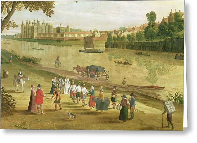 Entertainer Greeting Cards - The Thames At Richmond, With The Old Greeting Card by Flemish School