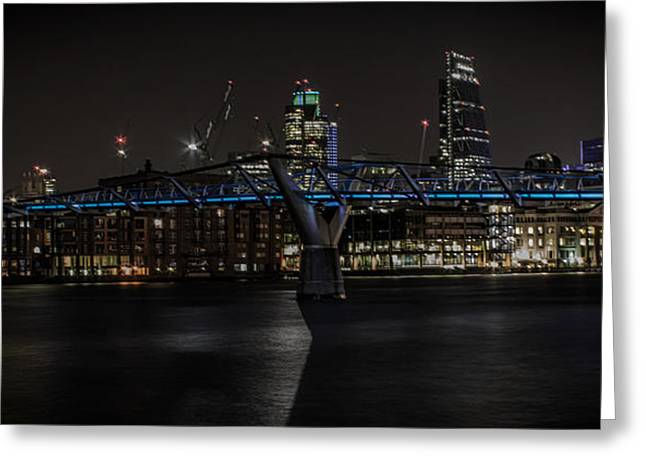 Light Trails Greeting Cards - The Thames London Greeting Card by Martin Newman