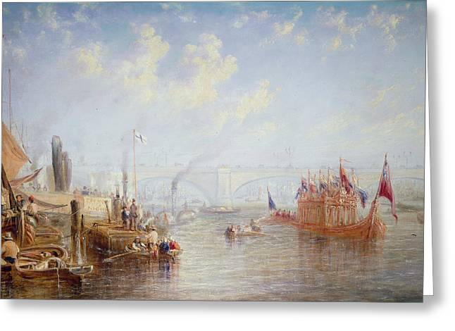 River Thames Greeting Cards - The Thames Near London Bridge Oil On Canvas Greeting Card by Francis Moltino
