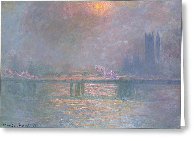Foggy Landscapes Greeting Cards - The Thames with Charing Cross Bridge Greeting Card by Claude Monet
