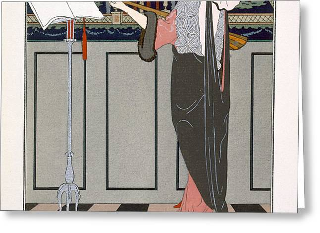 The Theorbo Player Greeting Card by Georges Barbier