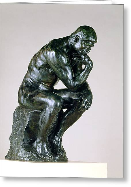 Pensive Greeting Cards - The Thinker, 1880-81 Greeting Card by Auguste Rodin