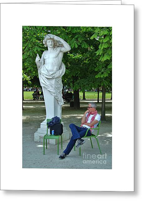 The Tuileries Gardens Greeting Cards - The Thinker Greeting Card by Allen Beatty