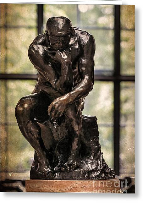 Esculpture Greeting Cards - The Thinker by Rodin Greeting Card by Maria Feklistova