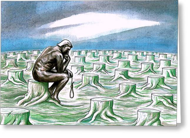 Human Degradation Greeting Cards - The Thinker Greeting Card by Dimitrios Kordalis