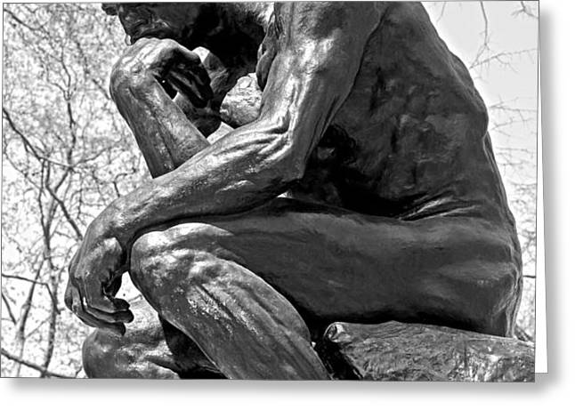 The Thinker in Black and White Greeting Card by Lisa  Phillips
