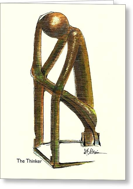 Fineartamerica Greeting Cards - The Thinker  Number 11 Greeting Card by Diane Strain