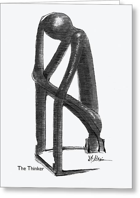 Fineartamerica Greeting Cards - The Thinker   Number 13 Greeting Card by Diane Strain