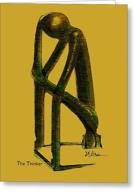 Fineartamerica Greeting Cards - The Thinker   Number 4 Greeting Card by Diane Strain