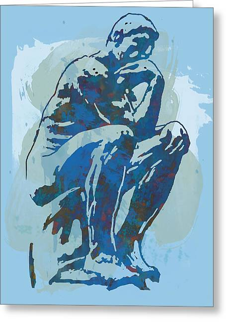 Sketch Greeting Cards - The Thinker - Rodin stylized pop art poster Greeting Card by Kim Wang