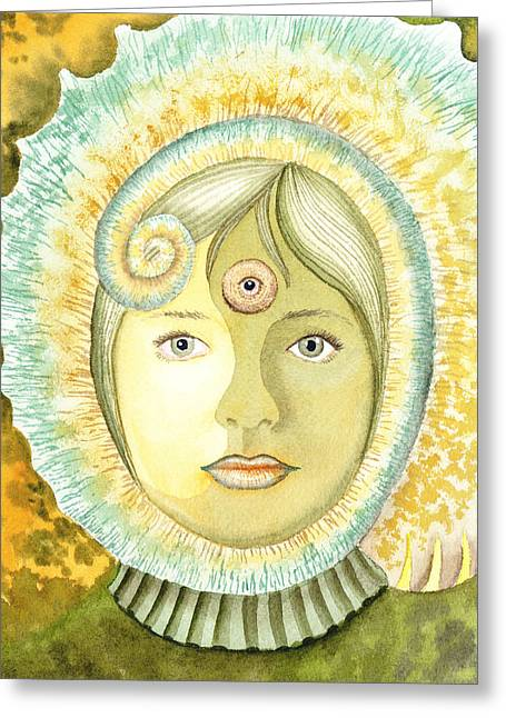 Wise Woman Greeting Cards - The Third Eye The Wise One Meditation Portrait Greeting Card by Irina Sztukowski