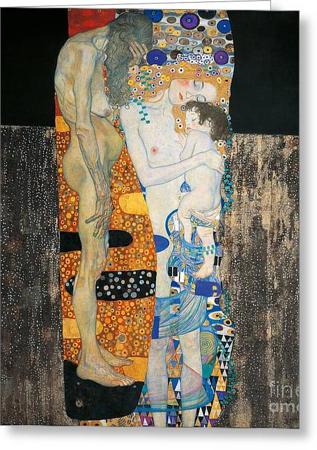 Pregnant Greeting Cards - The three ages of woman Greeting Card by Gustav Klimt