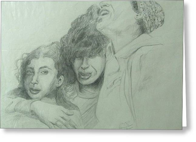Print On Acrylic Drawings Greeting Cards - The Three Agonies Greeting Card by Esther Newman-Cohen