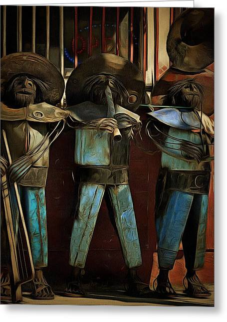 Urban Images Paintings Greeting Cards - The Three Amigos - In the Shadows Greeting Card by L Wright