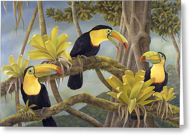 Rainforest Greeting Cards - The Three Amigos Greeting Card by Laura Regan
