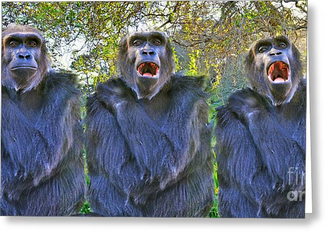 Bonding Digital Art Greeting Cards - The Three Ape Tenors Greeting Card by Jim Fitzpatrick