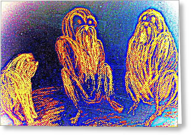 Aura Drawings Greeting Cards - The three apes Greeting Card by Hilde Widerberg