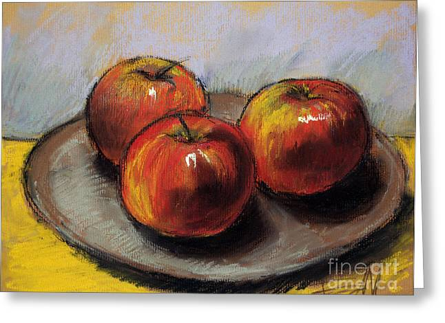Still Life Pastels Greeting Cards - The Three Apples Greeting Card by Mona Edulesco