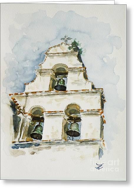 The Three-bell Campanario At Mission San Juan Bautista  Greeting Card by Zaira Dzhaubaeva