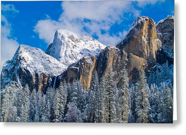 Bridalveil Falls Greeting Cards - Cathederal Rocks and Bridalveil Greeting Card by Bill Gallagher