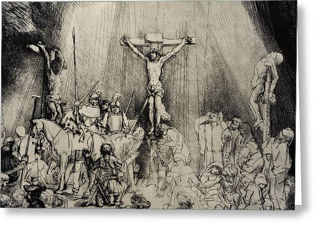 Calvary Greeting Cards - The Three Crosses, 1653, By Rembrandt 1606-1669 Greeting Card by Bridgeman Images