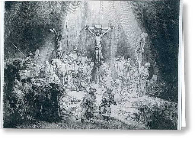 Christ In The Storm Greeting Cards - The Three Crosses Greeting Card by Rembrandt
