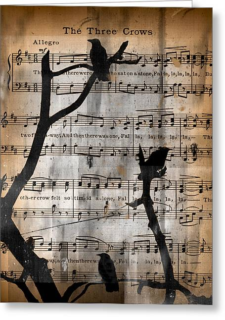 Crow. Bird Music Greeting Cards - The Three Crows Greeting Card by Gothicolors Donna Snyder